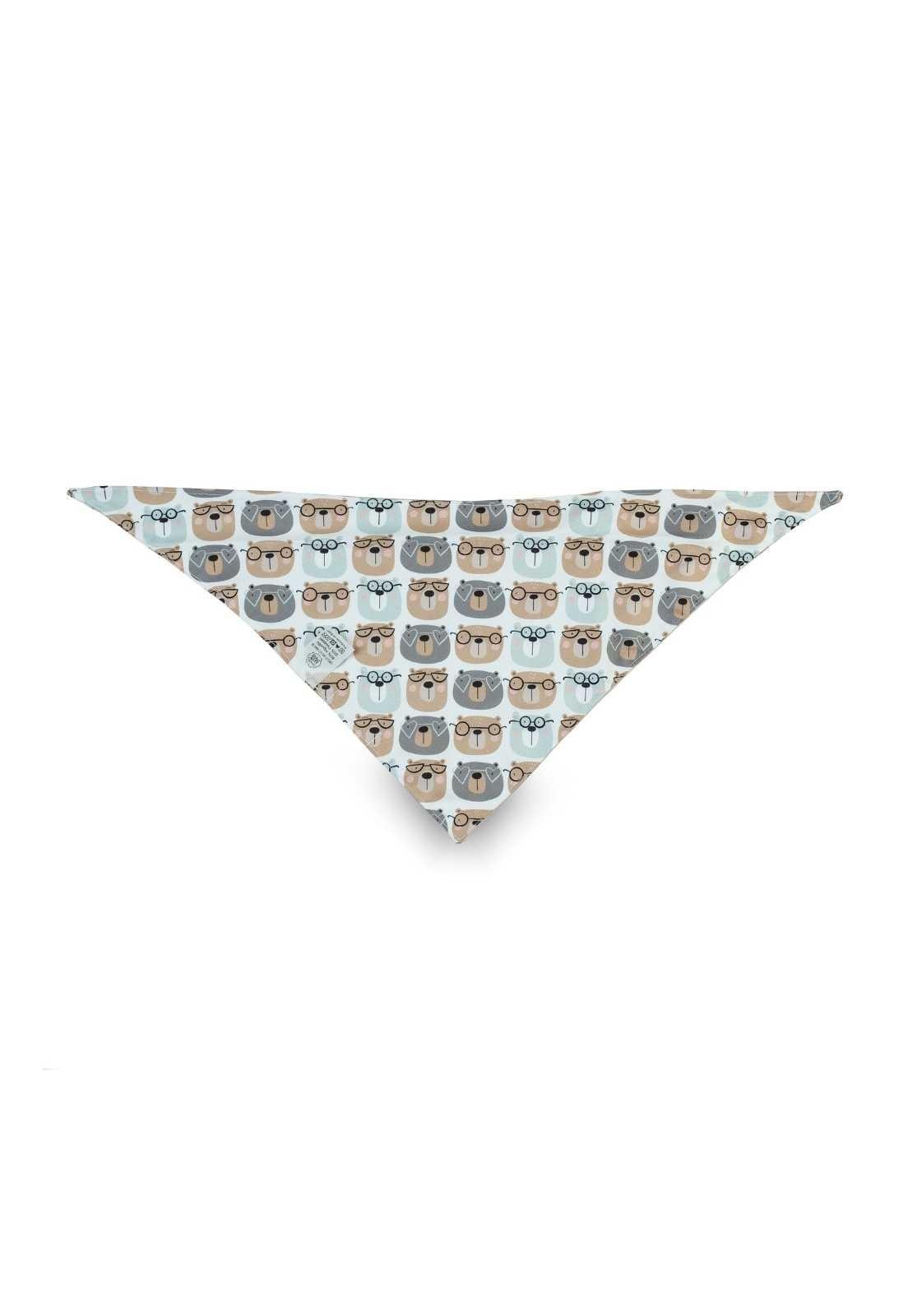 Bandana de irmão (bebê ou pet) dupla-face - Ursos Marrom e Azul