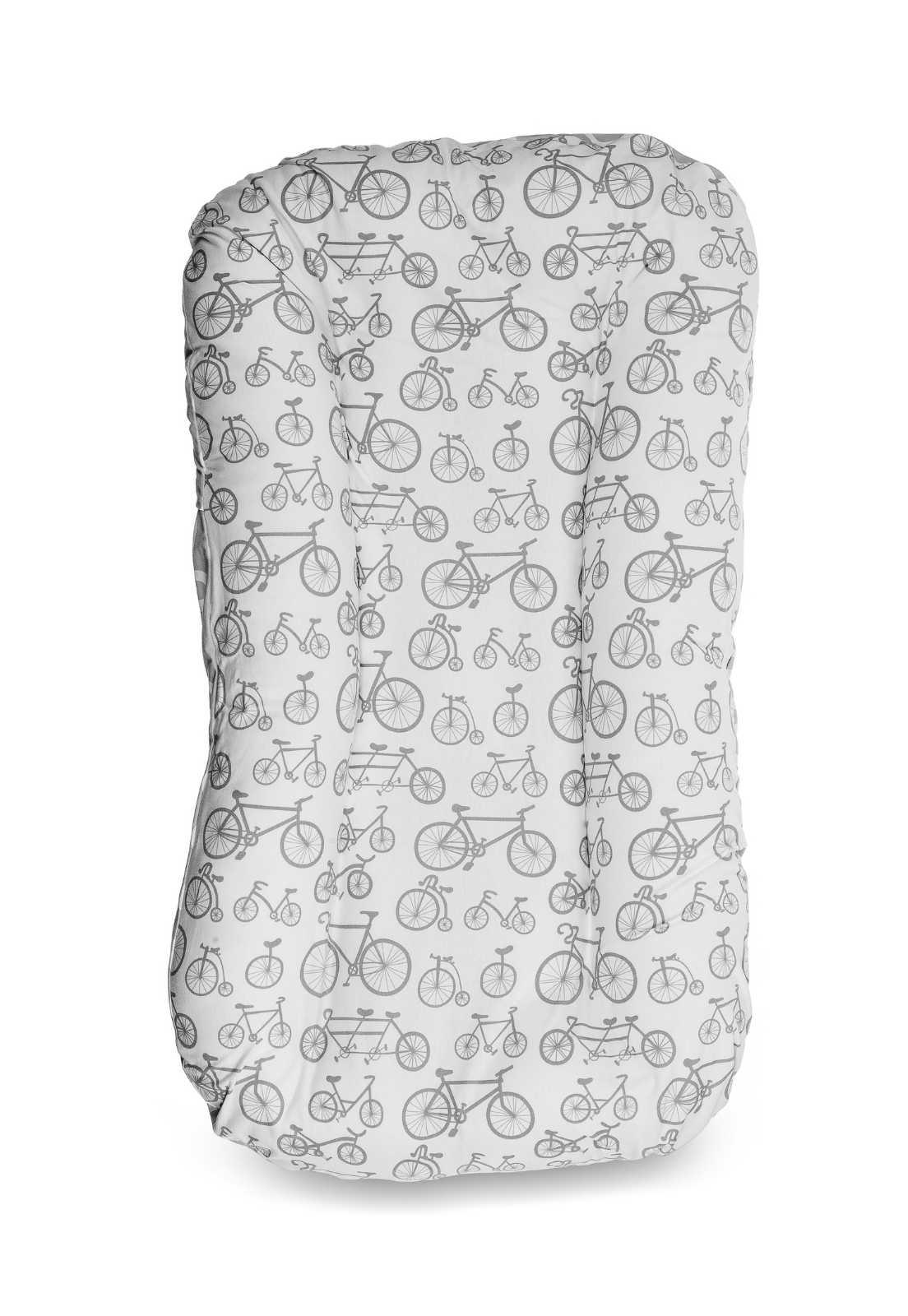 Capa de Ninho em Malha - Bicicleta Cinza e Branco