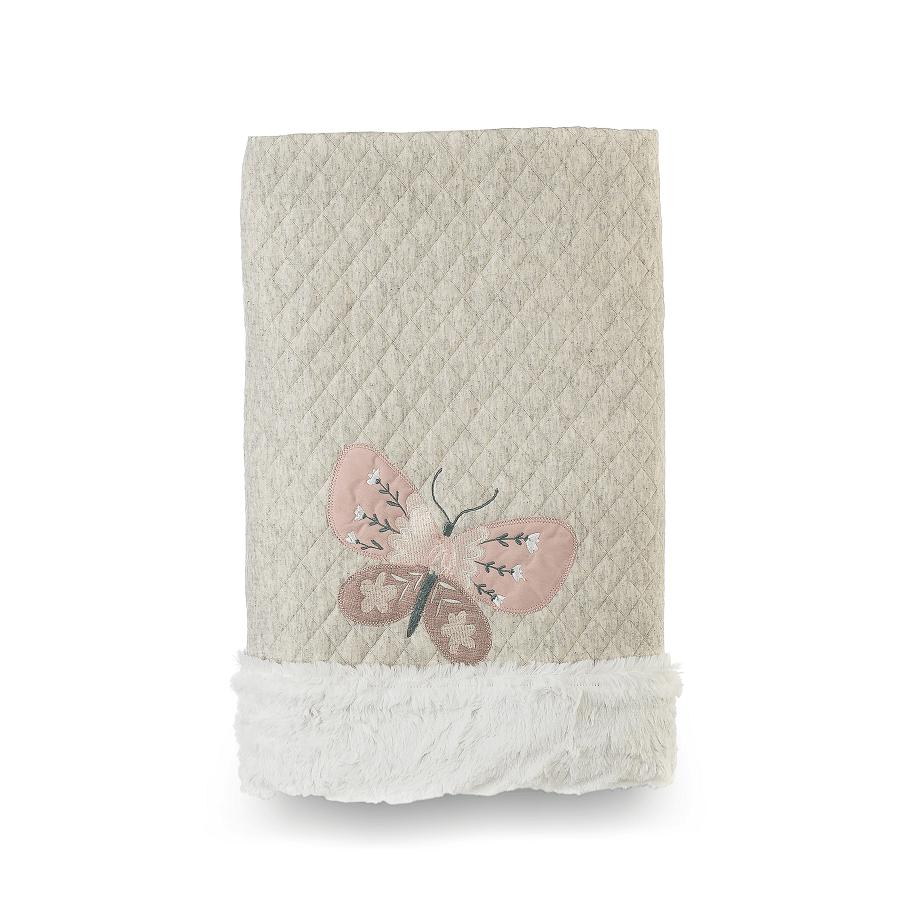 Cobertor Dupla-face Bordado e Peluciado - Coleção Botânica Bege