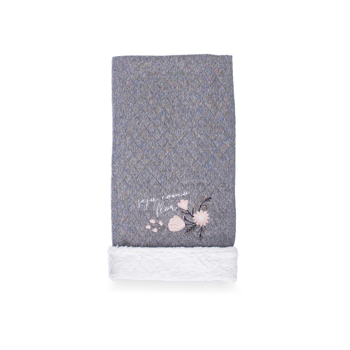 Cobertor Dupla-face Bordado e Peluciado - Coleção Buquê Cinza