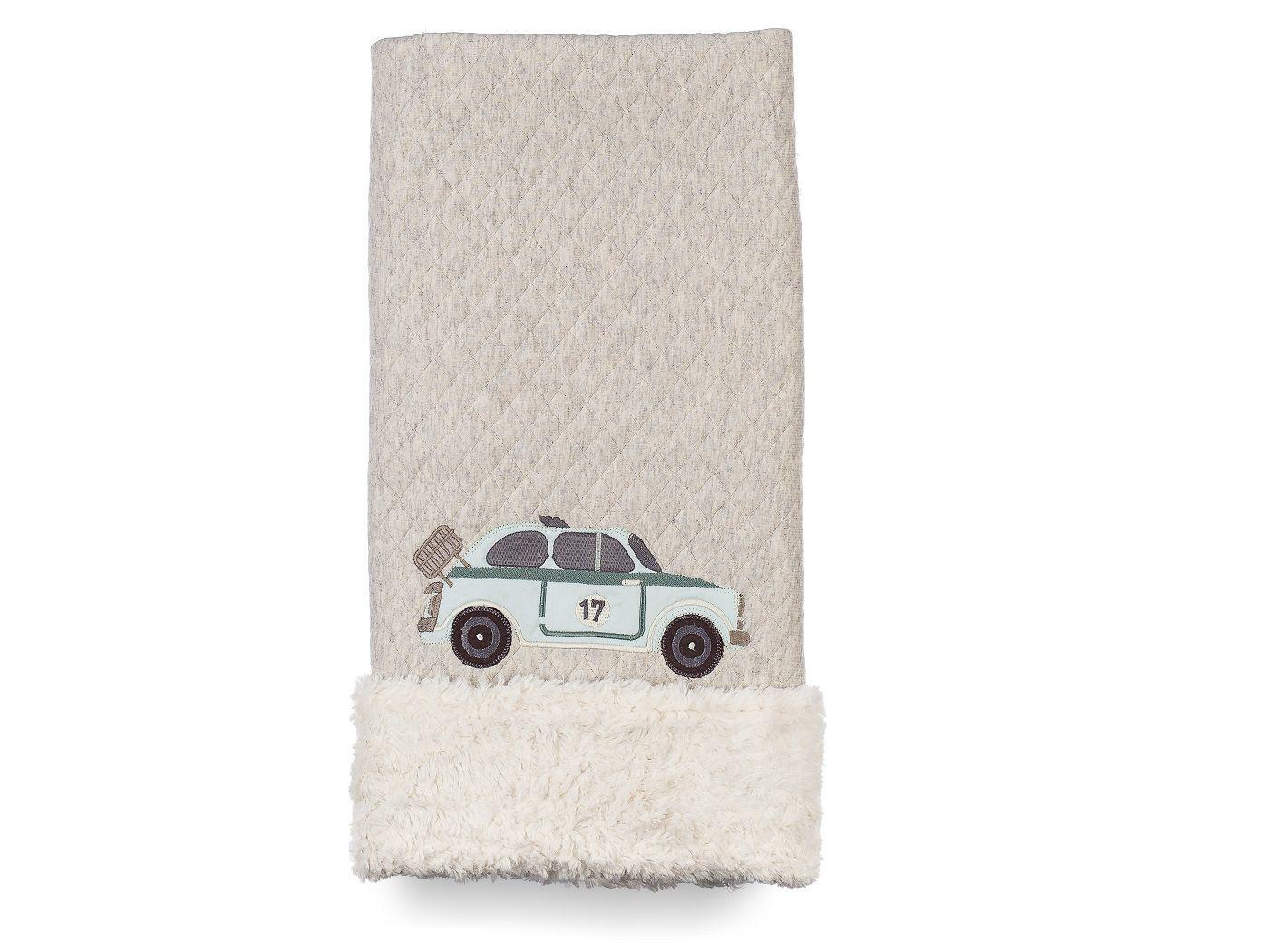 Cobertor Dupla-face Bordado e Peluciado - Coleção Carros Antigos Azul