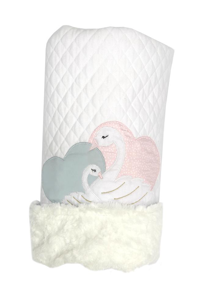 Cobertor Dupla-face Bordado e Peluciado - Coleção Cisne Azul e Rosa