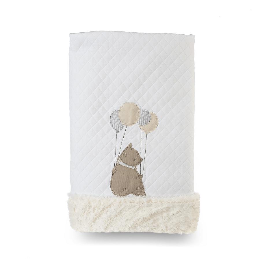 Cobertor Dupla-face Bordado e Peluciado - Coleção Clássicos Cinza com Bege