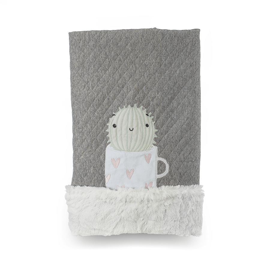 Cobertor Dupla-face Bordado e Peluciado - Coleção Diamante Cinza