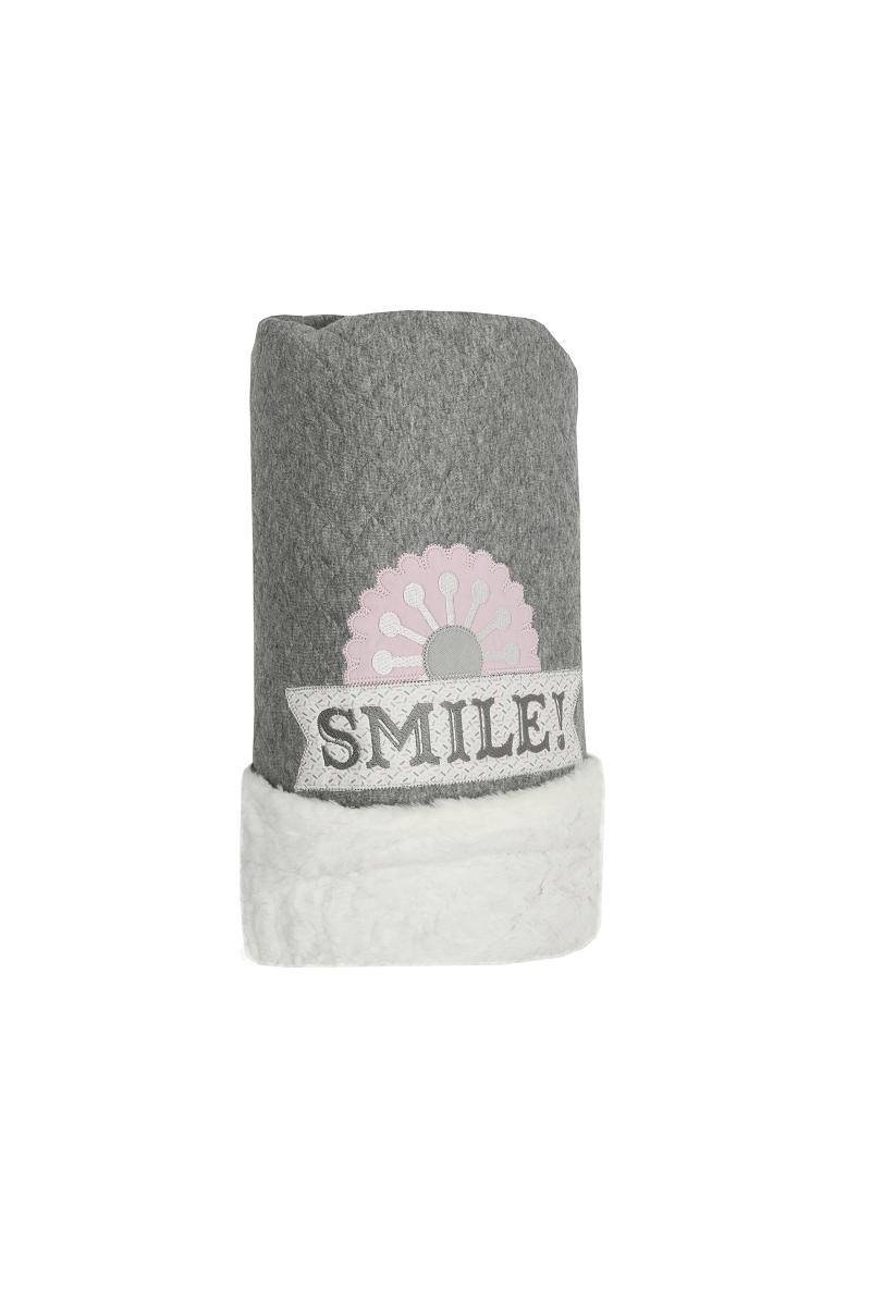 Cobertor Dupla-face Bordado e Peluciado - Coleção Flores Rosa com Cinza