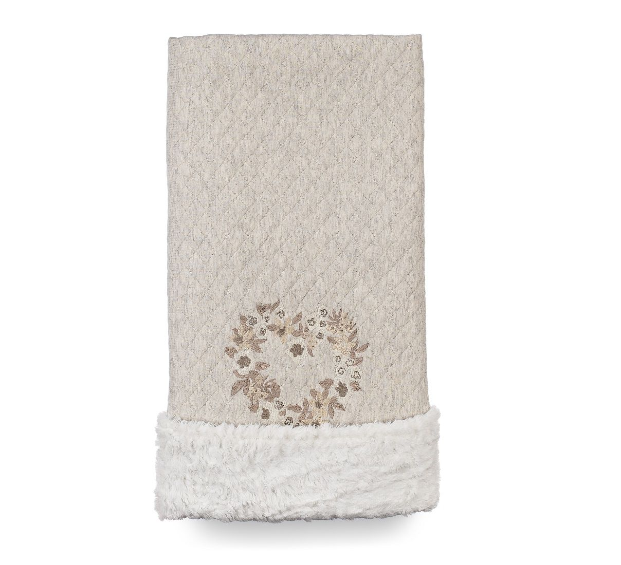 Cobertor Dupla-face Bordado e Peluciado - Coleção Hortênsias Cáqui
