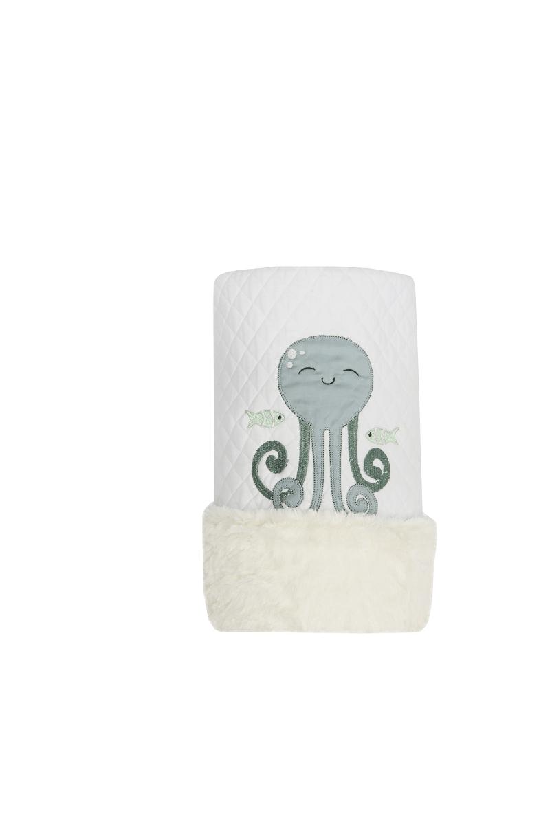 Cobertor Dupla-face Bordado e Peluciado - Coleção Peixe Verde