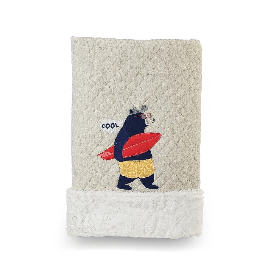 Cobertor Dupla-face Bordado e Peluciado - Coleção Surfista Bege