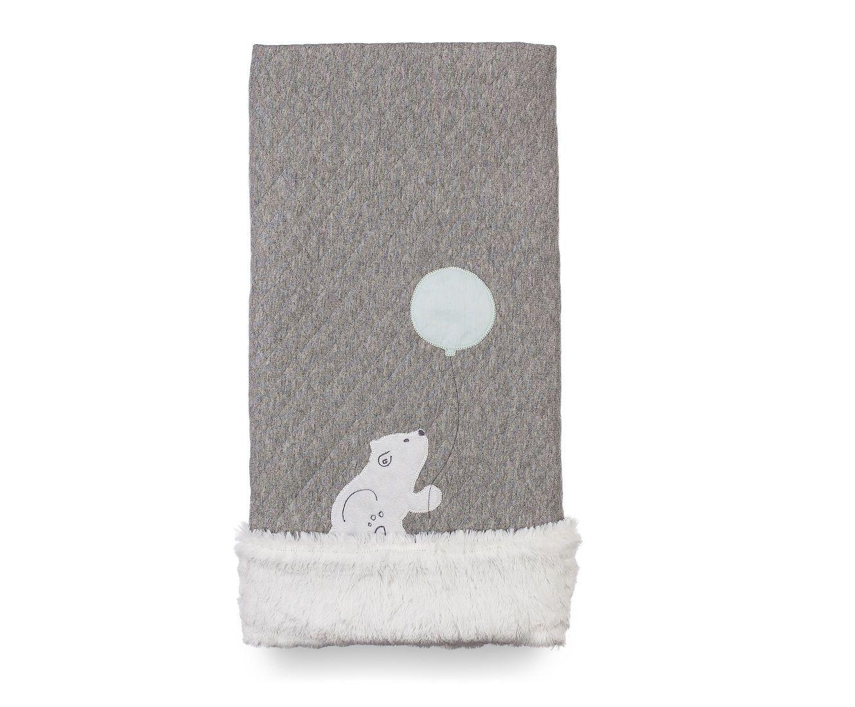 Cobertor Dupla-face Bordado e Peluciado - Coleção Ursos PB Cinza