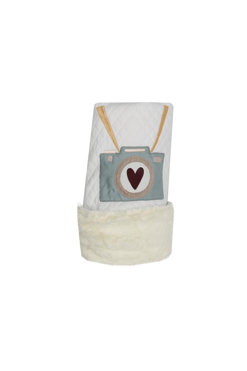 Cobertor Dupla-face Bordado e Peluciado - Coleção Viagem Vinho e Salmão