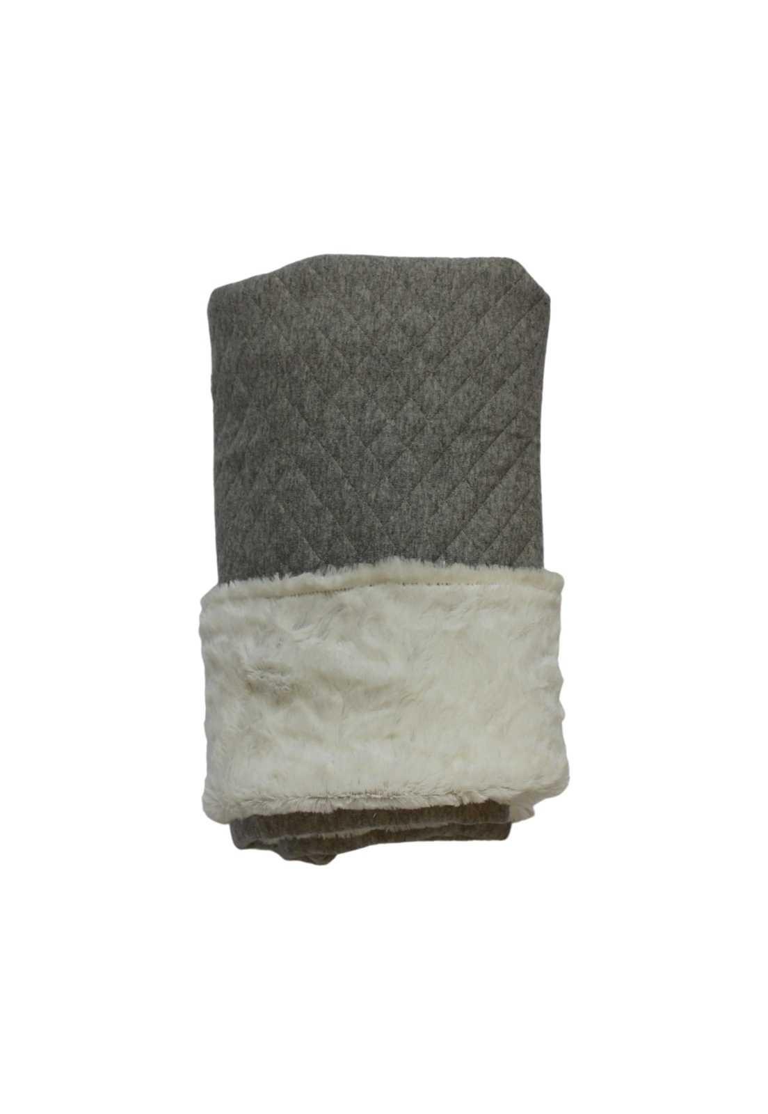 Cobertor Matelassê Cinza com Pelinho Ecológico Off-white