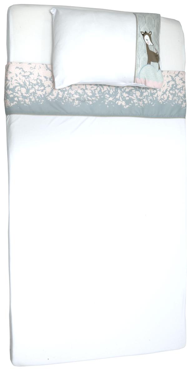 Jogo de Lencol de Berço em Malha - Coleção Cisne Azul e Rosa