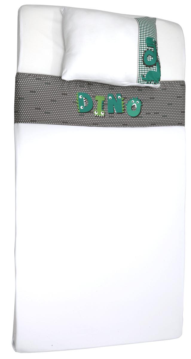 Jogo de Lencol de Berço em Malha - Coleção Mamute Verde e Cinza