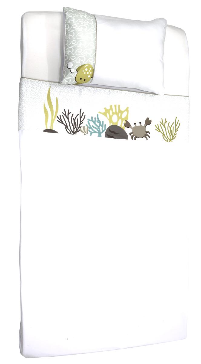 Jogo de Lencol de Berço em Malha - Coleção Peixe Verde