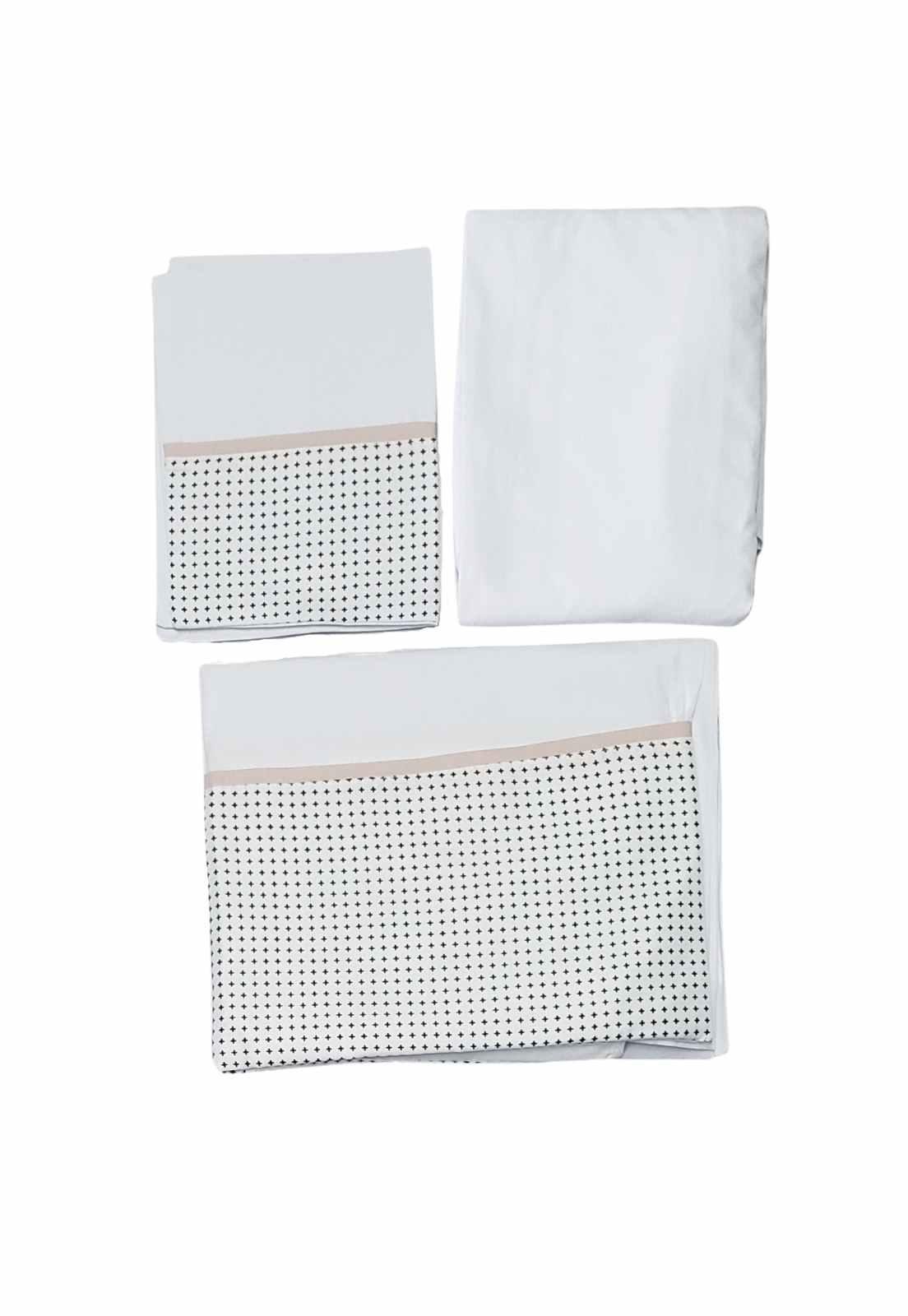 Jogo de Lençol de Berço Percal - Coleção Diamante Clean Preto e Branco
