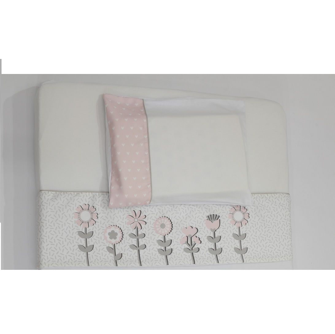 Jogo de Lencol de Malha - Coleção Flores Rosa com Cinza