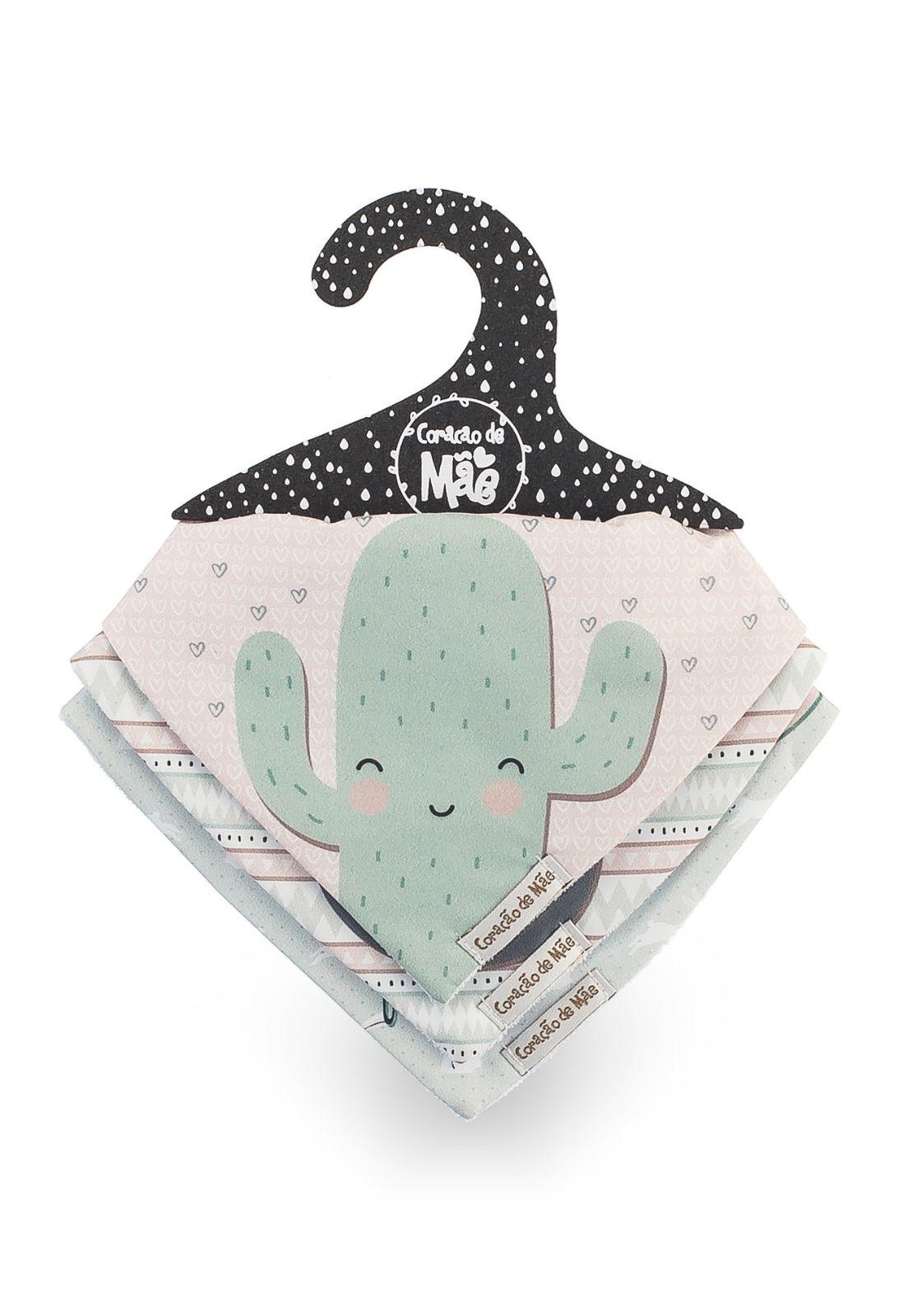 Kit 03 Babadores - Coleção Diamante Rosa e Verde
