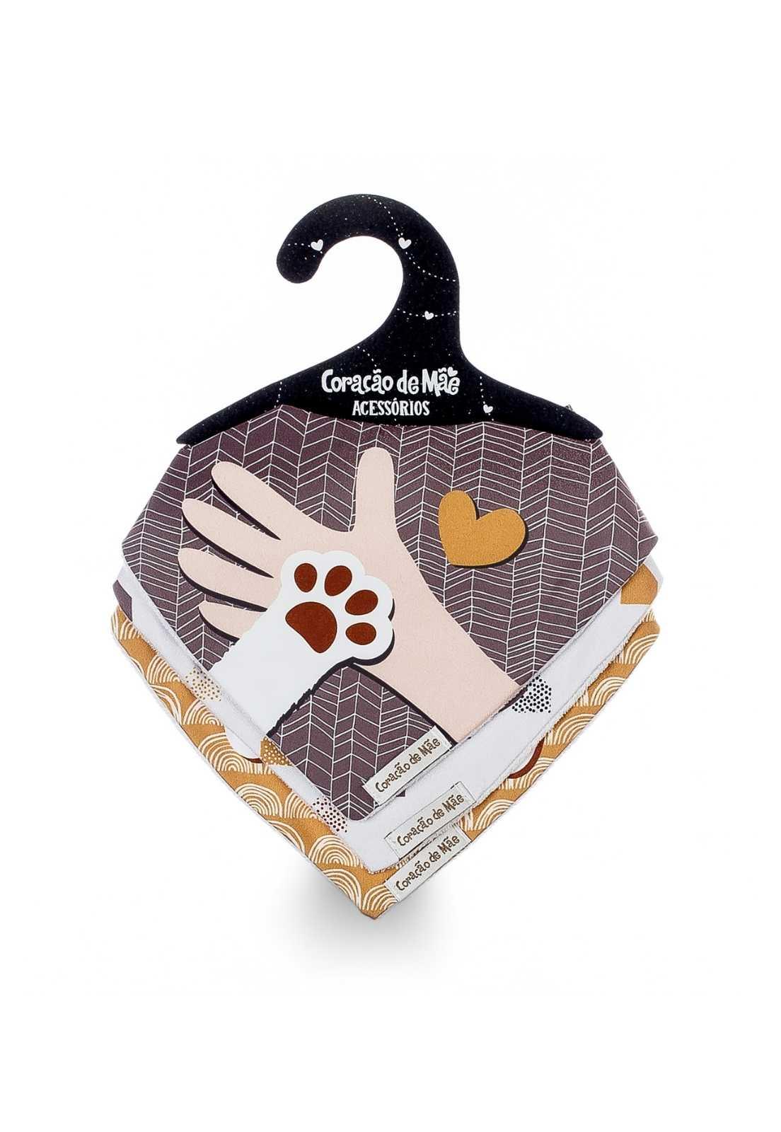 Kit 03 Babadores - Coleção Dogs Amarelo e Terracota