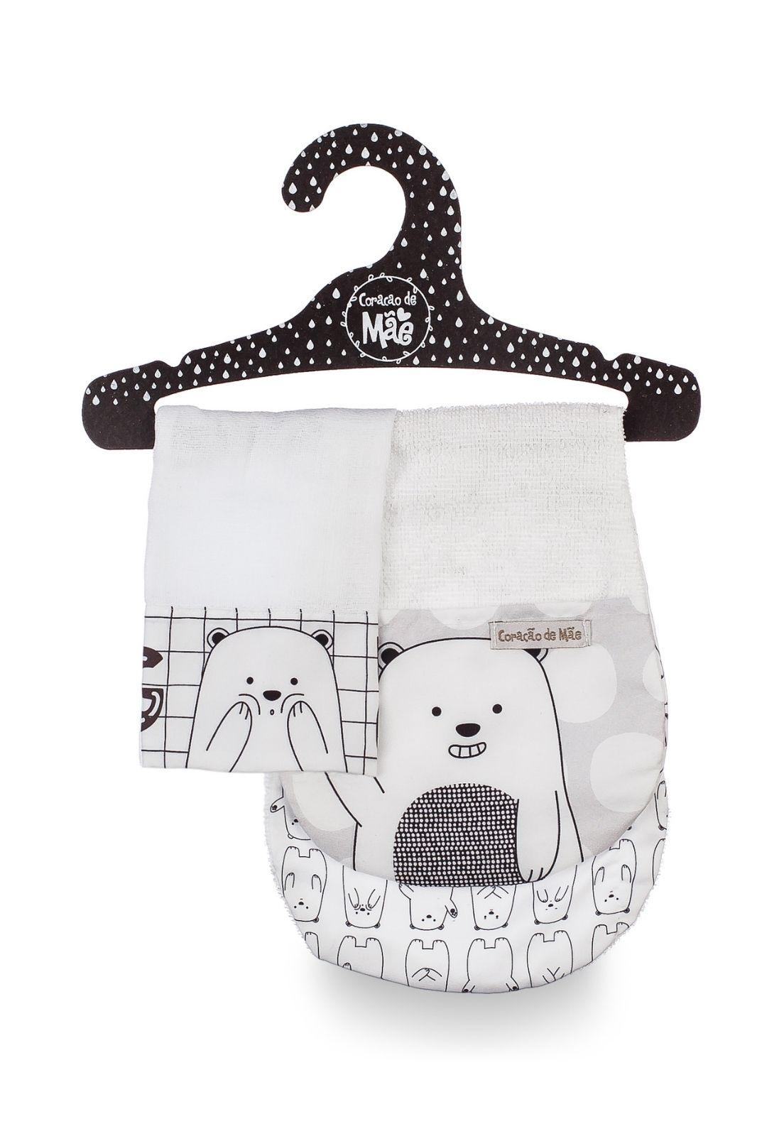 Kit Babador de Ombro + Babita - Coleção Ursos Preto-e-branco