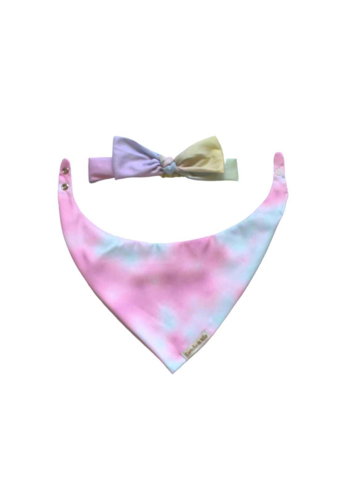 Kit Babador Dupla-face + Faixinha Tie-Dye em rosa e azul