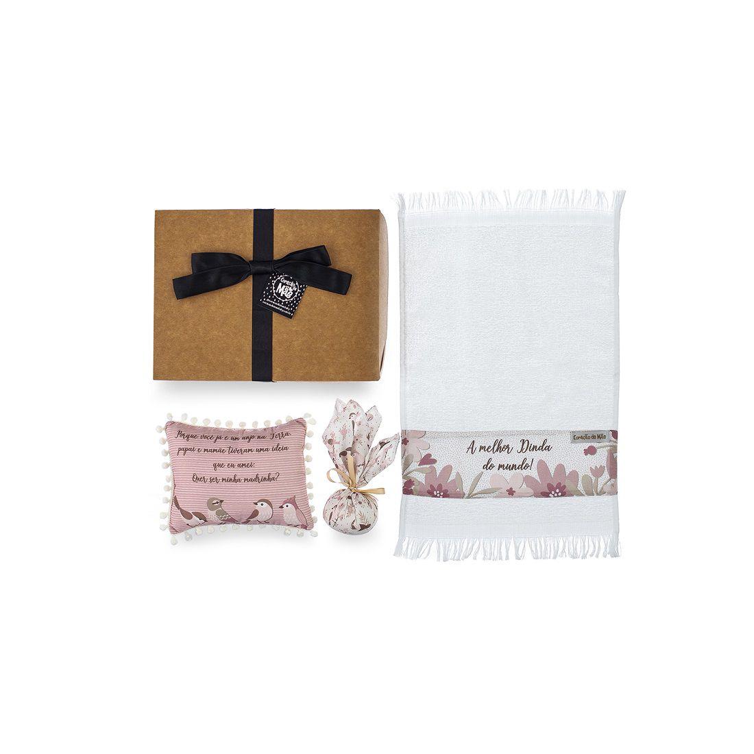 Kit Dinda - Almofadinha, Sache e Toalha de Mão - Coleção Birds Rosa com Cáqui