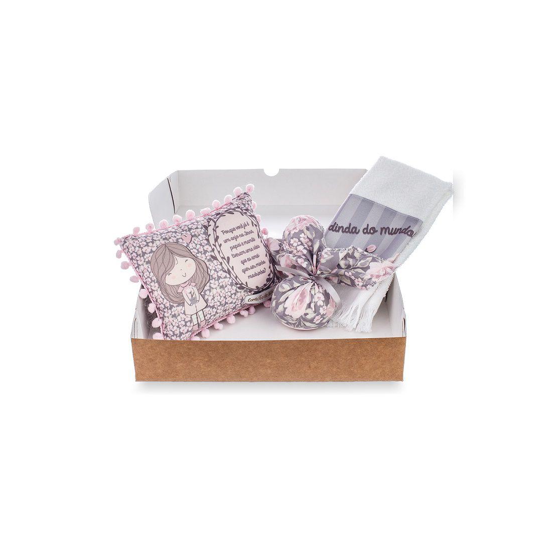 Kit Dinda - Almofadinha, Sachê e Toalha de Mão - Coleção Buque Rosa com Cinza