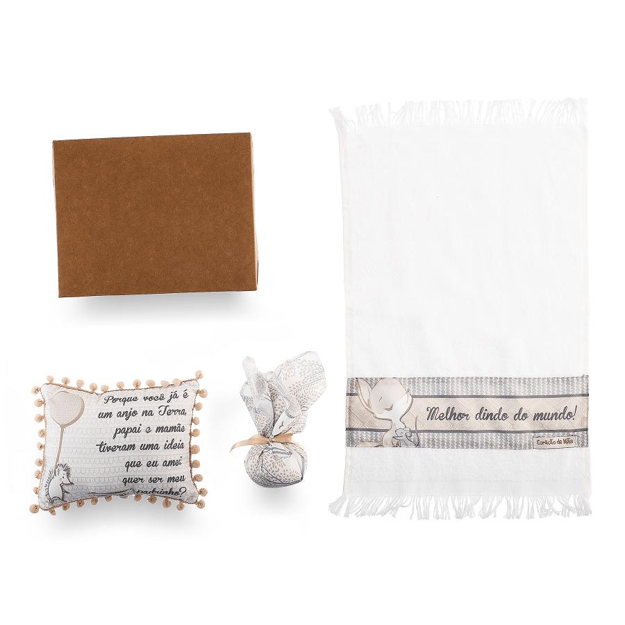 Kit Dinda - Almofadinha, Sachê e Toalha de Mão - Coleção Clássicos Cinza com Bege