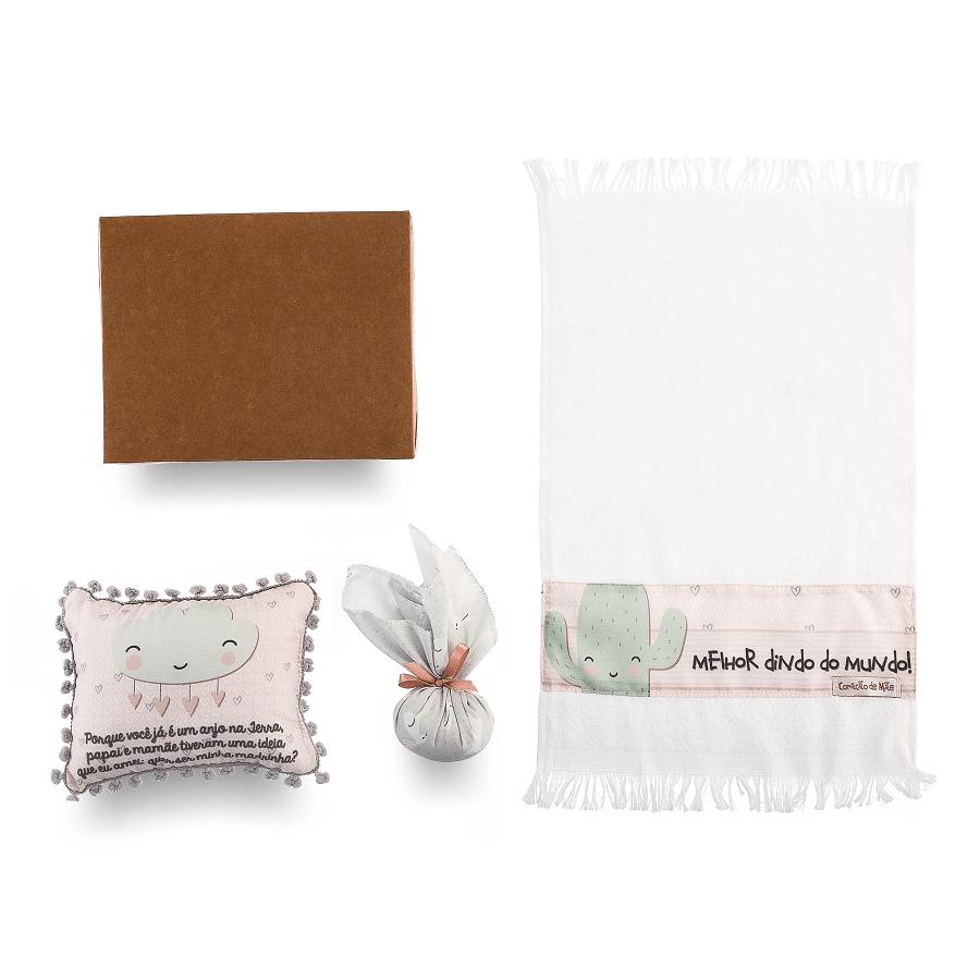 Kit Dinda - Almofadinha, Sachê e Toalha de Mão - Coleção Diamante Rosa com Verdinho