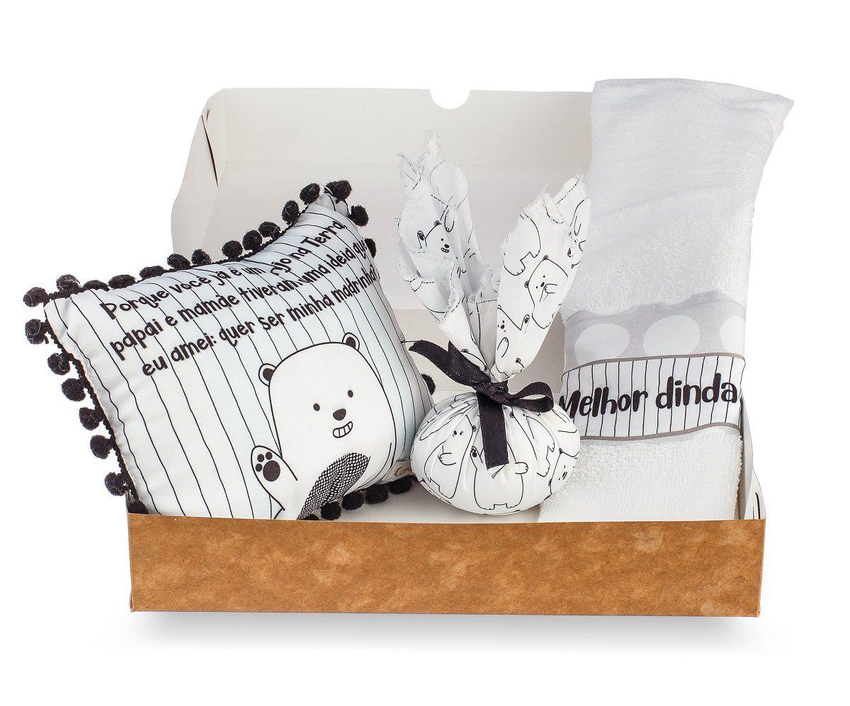 Kit Dinda - Almofadinha, Sache e Toalha de Mão - Coleção Ursos PB Branco-e-preto
