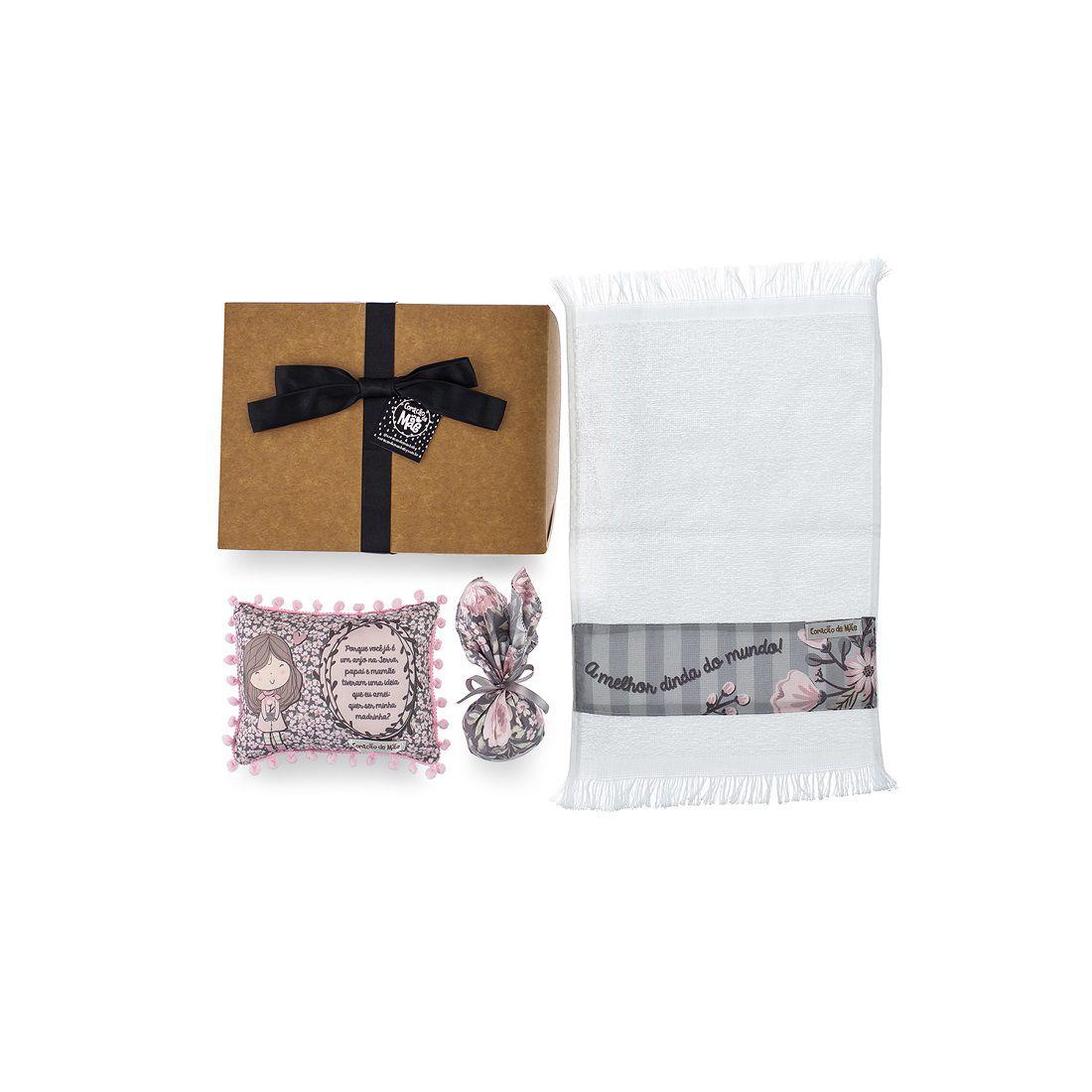 Kit Dindo - Almofadinha, Sachê e Toalha de Mão - Coleção Buque Rosa com Cinza