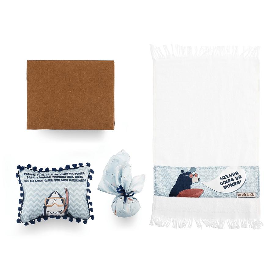 Kit Dindo - Almofadinha, Sachê e Toalha de Mão - Coleção Surfista Azul e Marinho