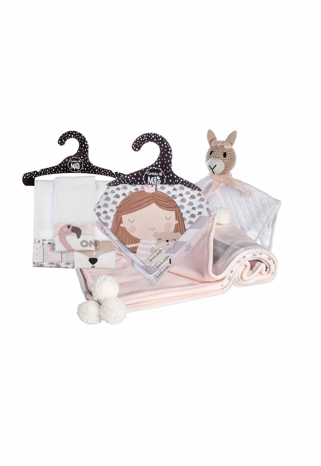 Kit Encanto 1 Baby Friday (Manta, Babador, Naninha, e Paninho de boca) - Coleção Flamingo