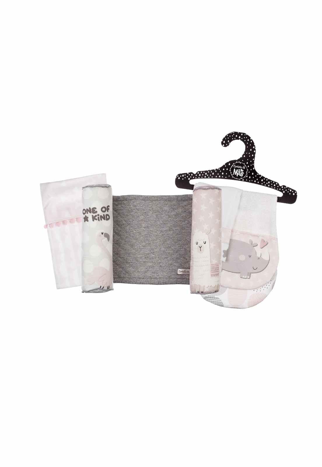 Kit Encanto 2 (Rolinho, Saquinho Térmico de Sementes, Babador de Ombro + Paninho de Boca) - Coleção Flamingo