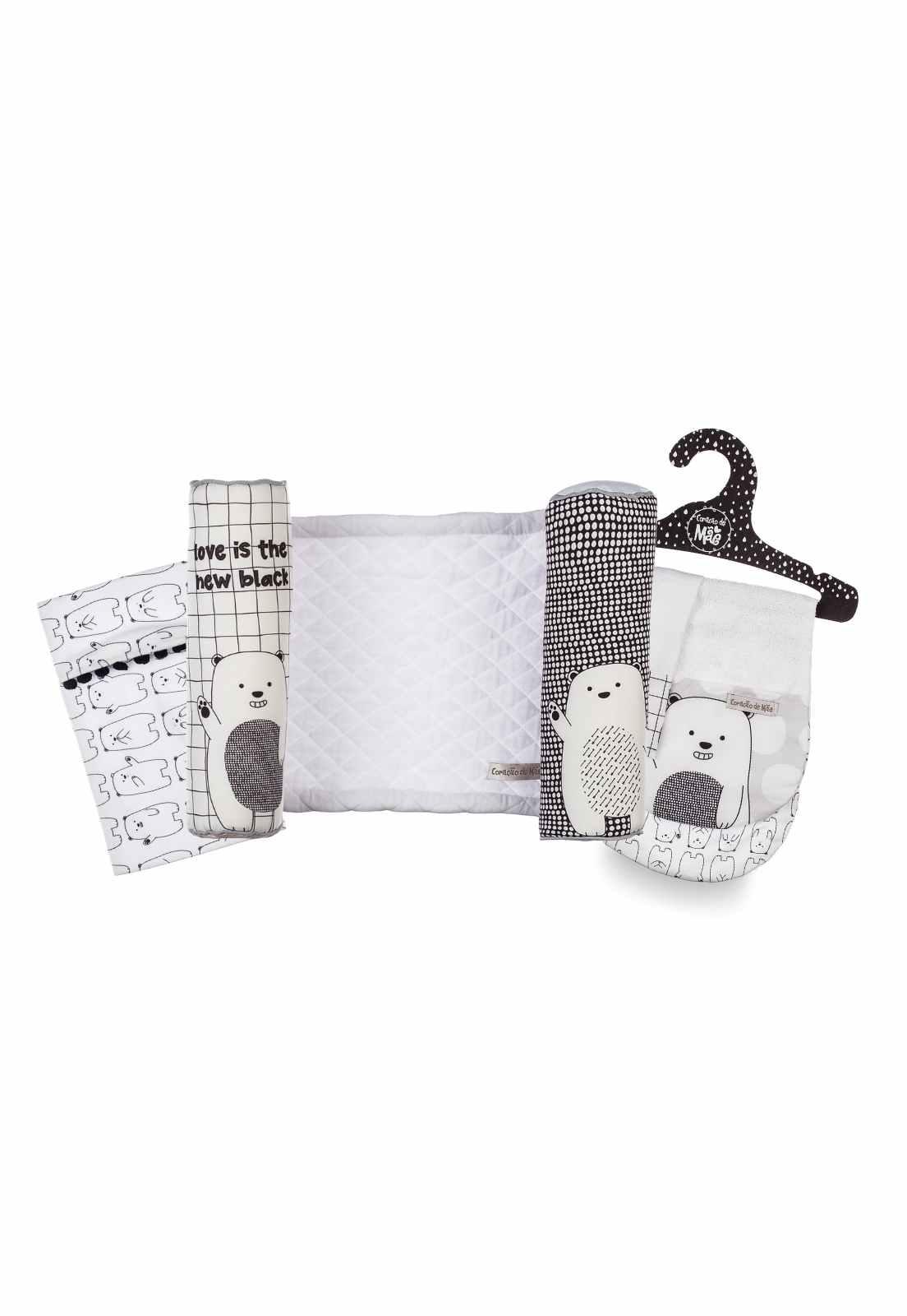 Kit Encanto 2 Baby Friday (Rolinho, Saquinho Térmico de Sementes, Babador de Ombro + Paninho de Boca) - Coleção Ursos PB