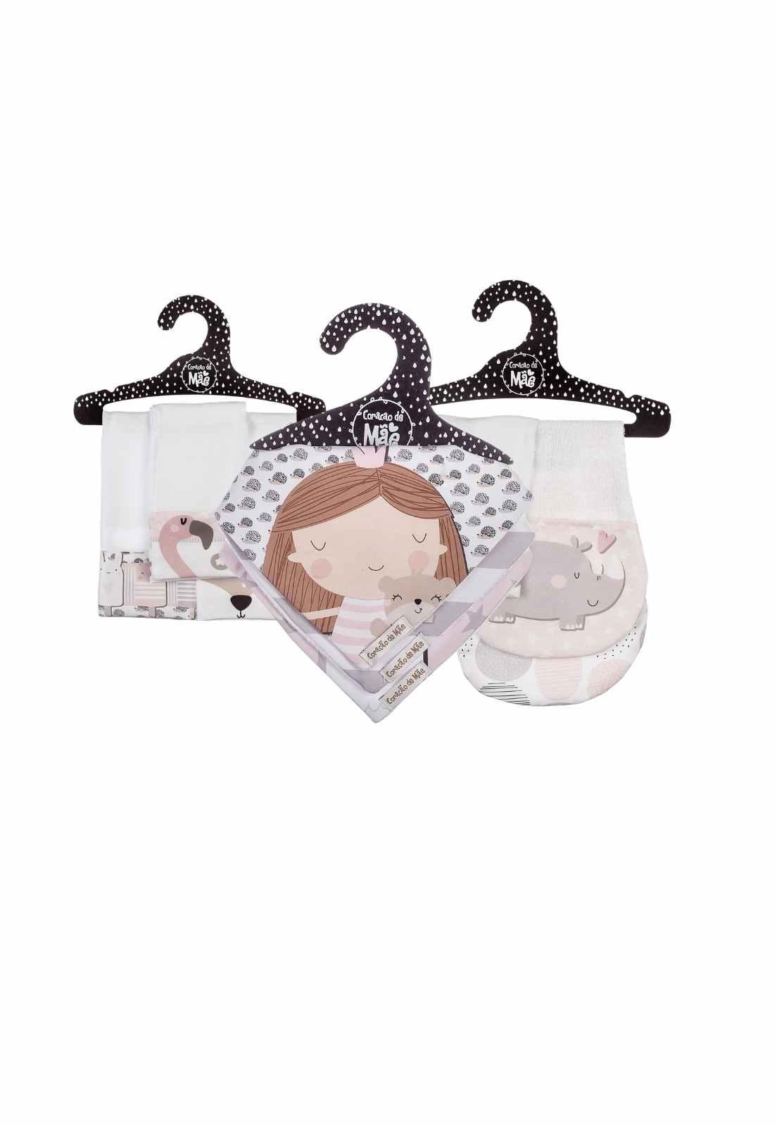 Kit Encanto 3 (Babita, babador e babador de ombro) - Coleção Flamingo