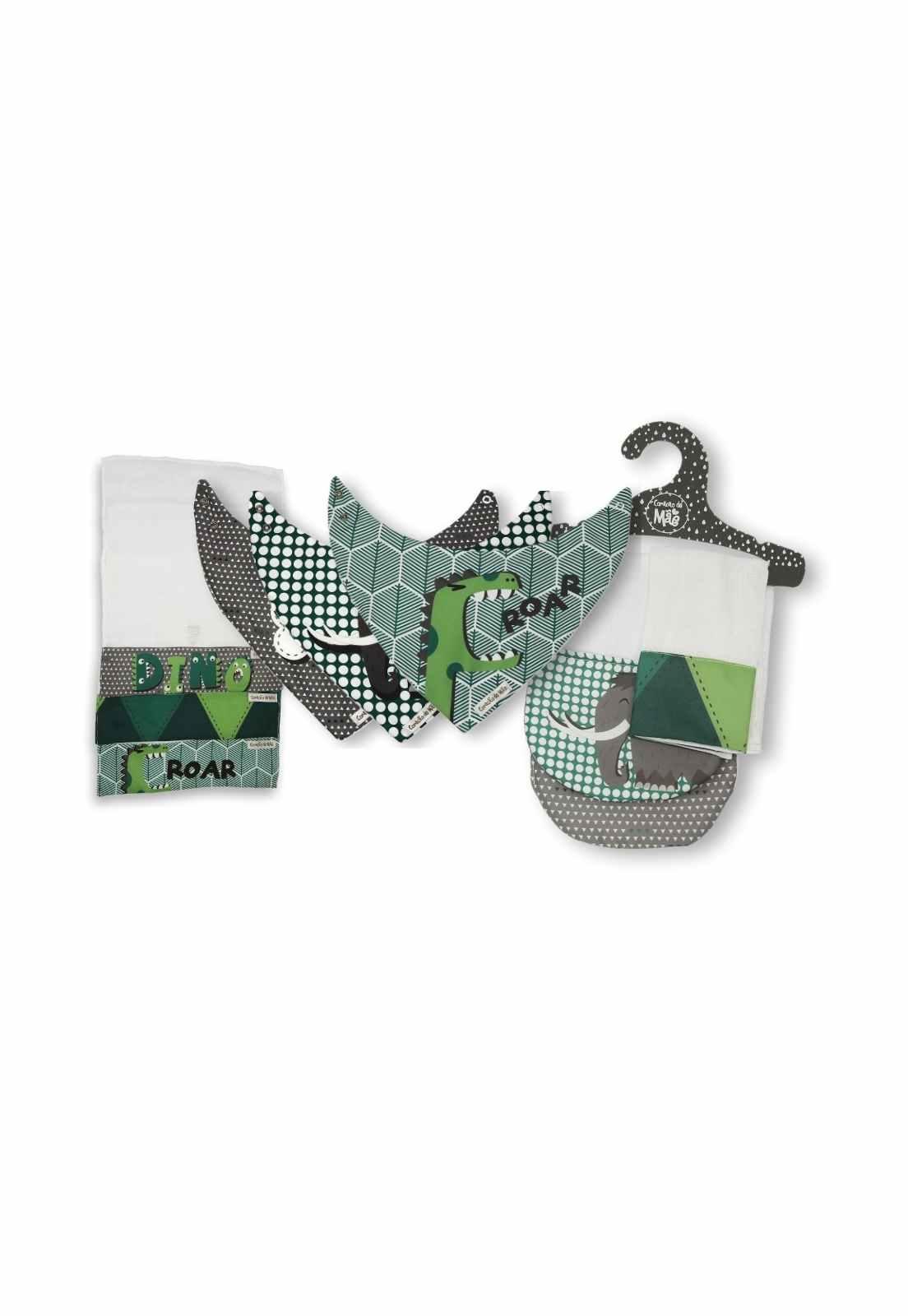 Kit Encanto 3 (Babita, babador e babador de ombro) - Coleção Mamute Verde