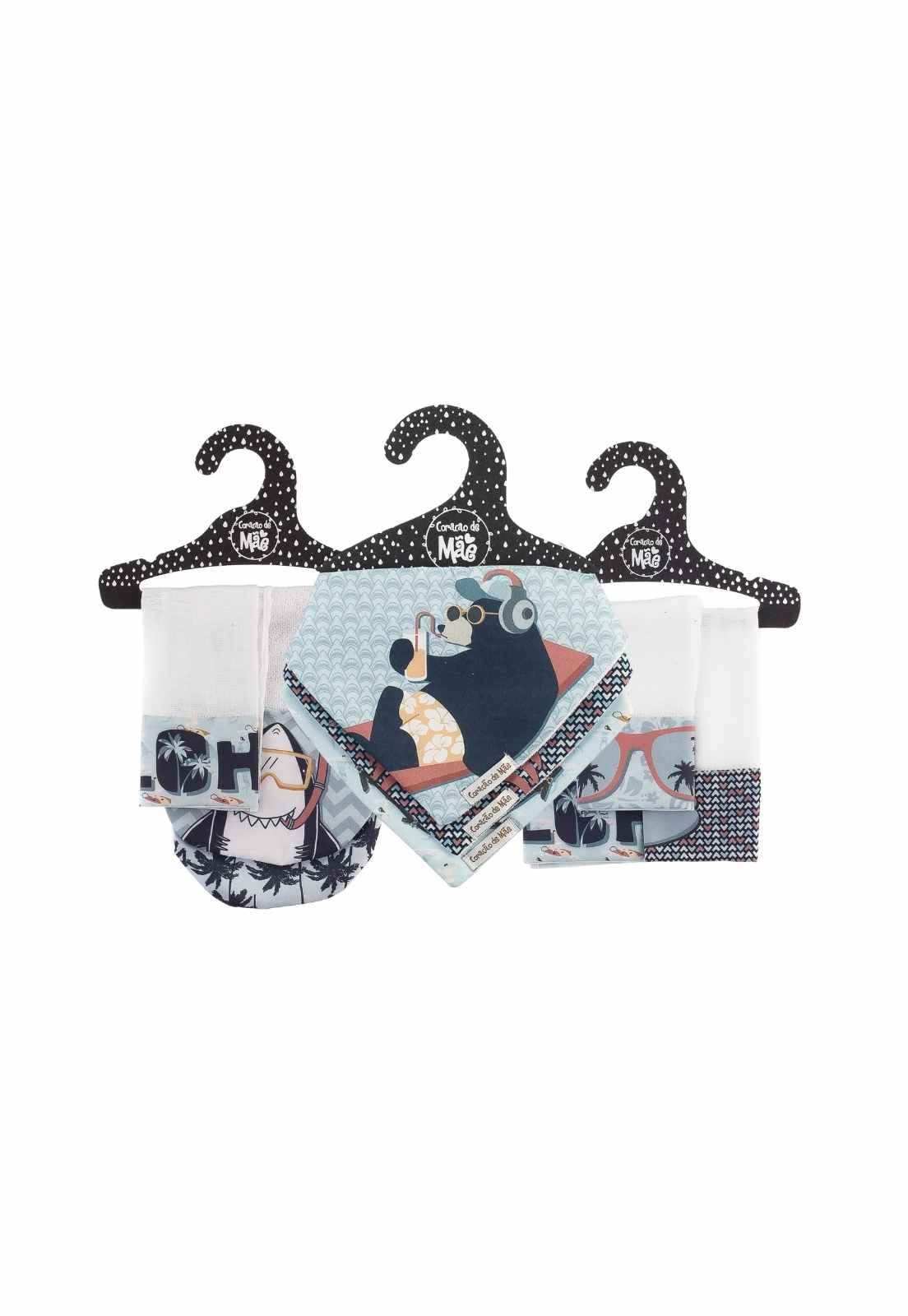 Kit Encanto 3 (Babita, babador e babador de ombro) - Coleção Surfista
