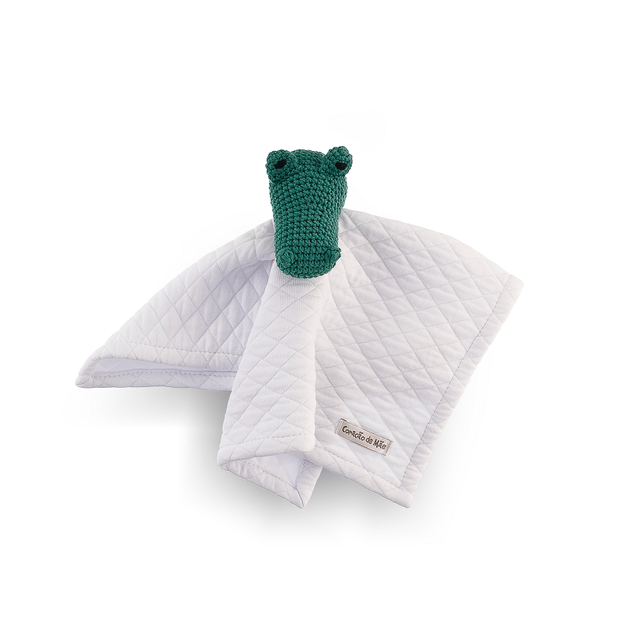 Naninha Amigurumi Jacaré feita à mão - Coleção Surfista Verde com Branco