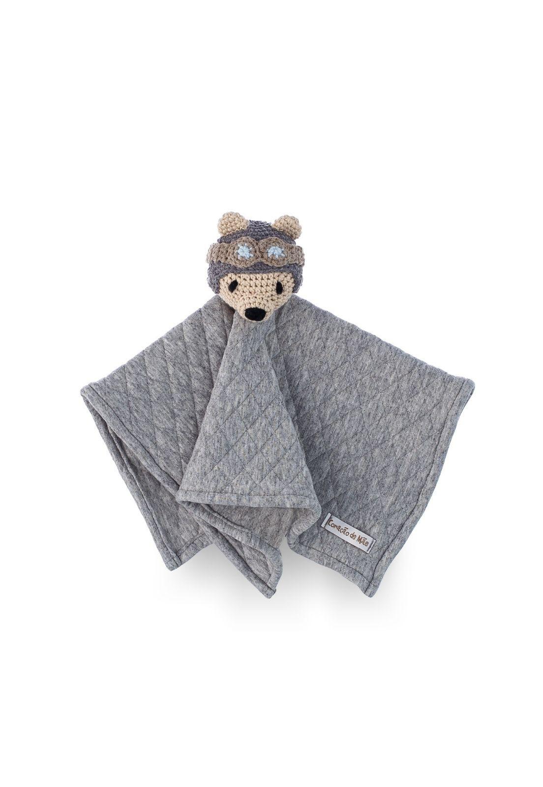 Naninha Amigurumi Urso Viajante feita à mão - Coleção Mundo Azul e Cáqui e cinza