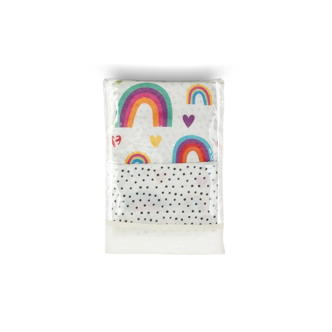 Ninho Redutor com Capa em Malha - Arco-íris Colorido Branco e Rosa