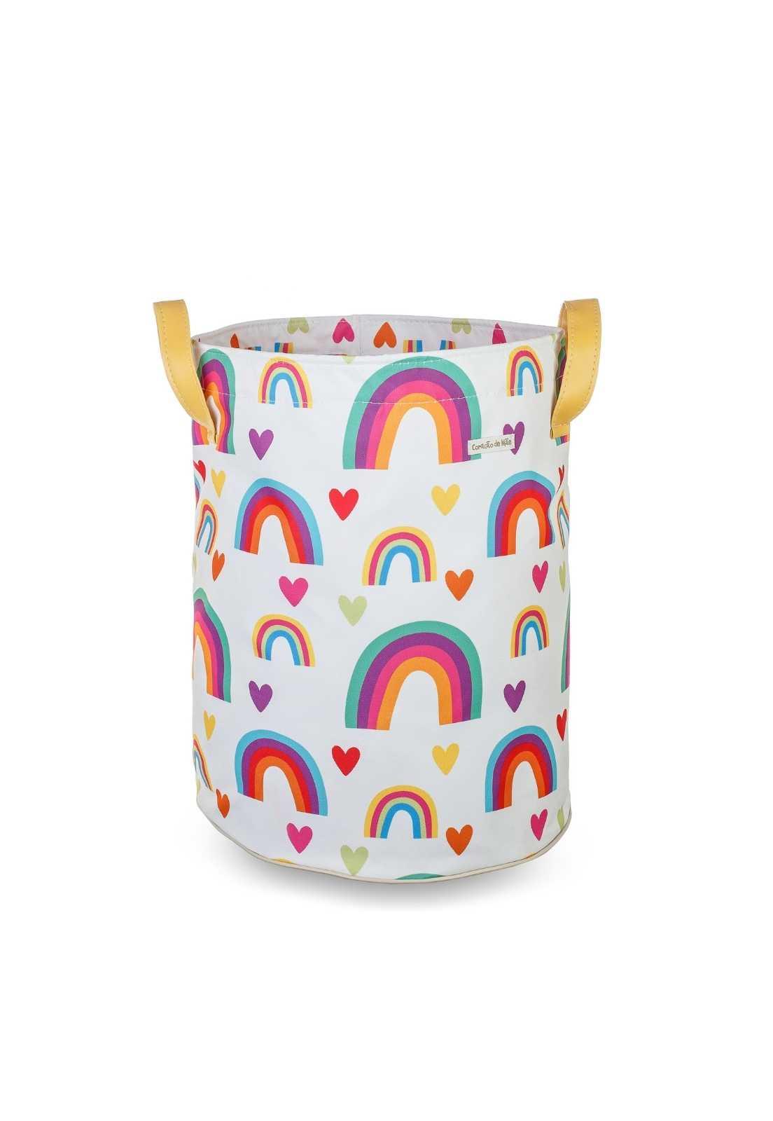 Saco de Brinquedos G -  Arco-íris Colorido, fundo Branco