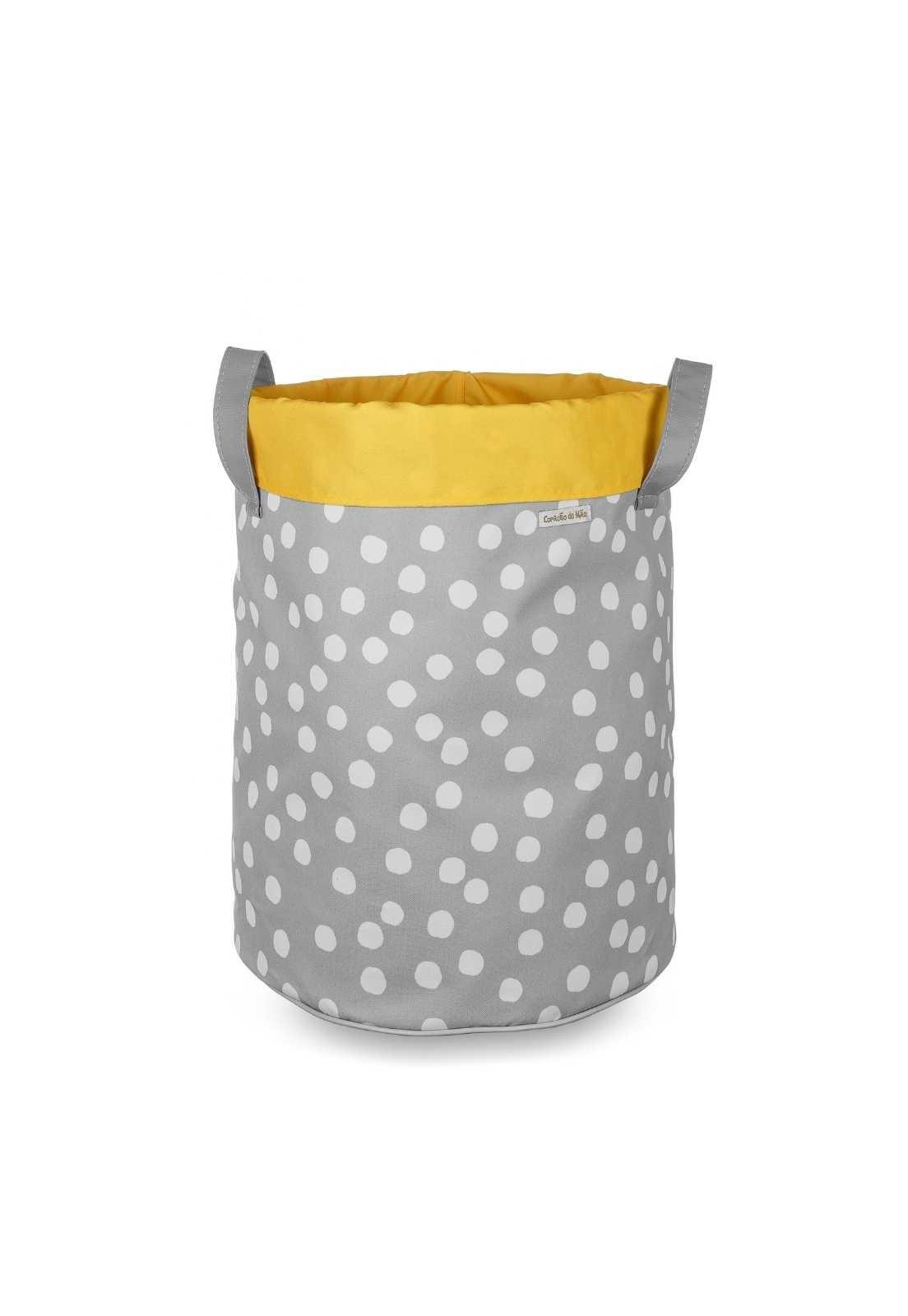 Saco de Brinquedos G com Aba Amarela - Bolinhas Brancas No Fundo Cinza