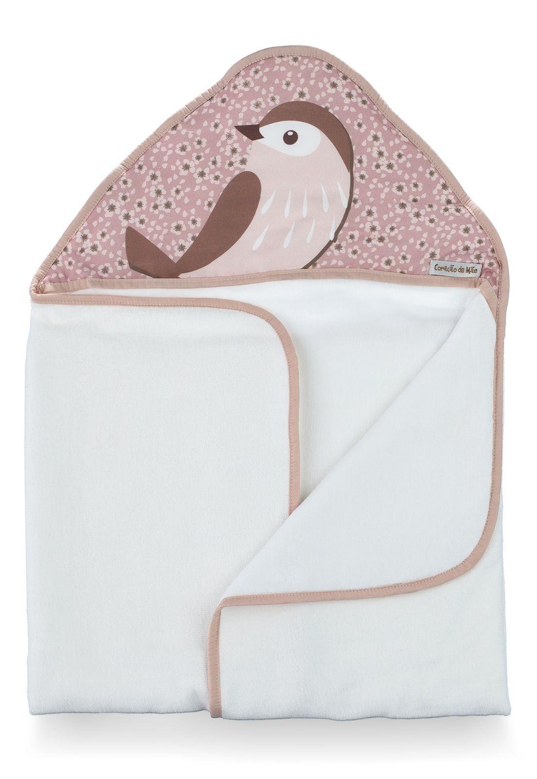 Toalha-fralda Capuz - Coleção Birds Rosa