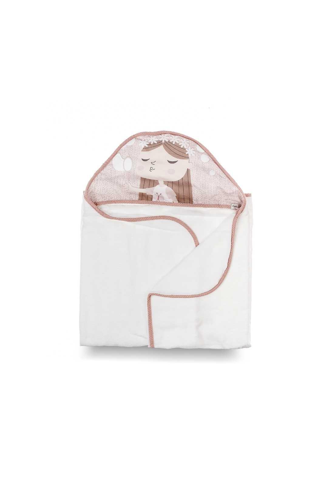 Toalha-fralda com Capuz - Coleção Borboletas Rosa