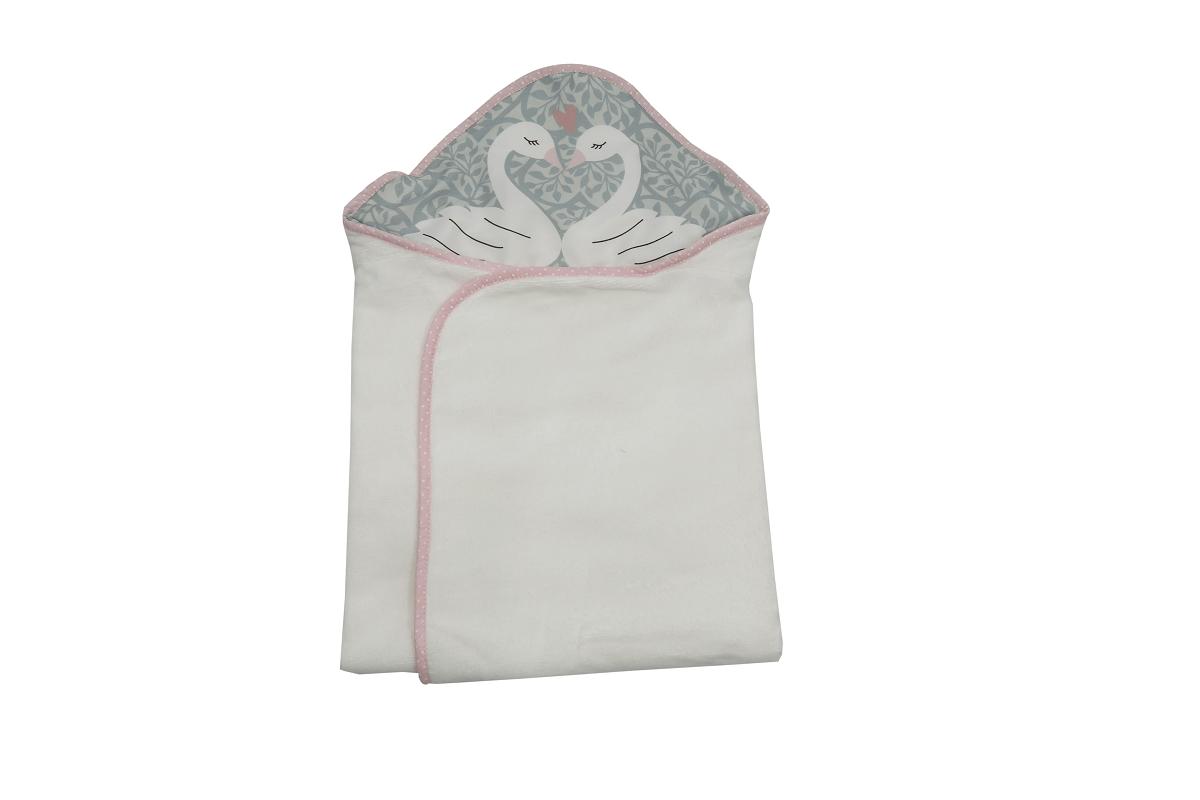 Toalha-fralda com Capuz - Coleção Cisne Rosa e Azul