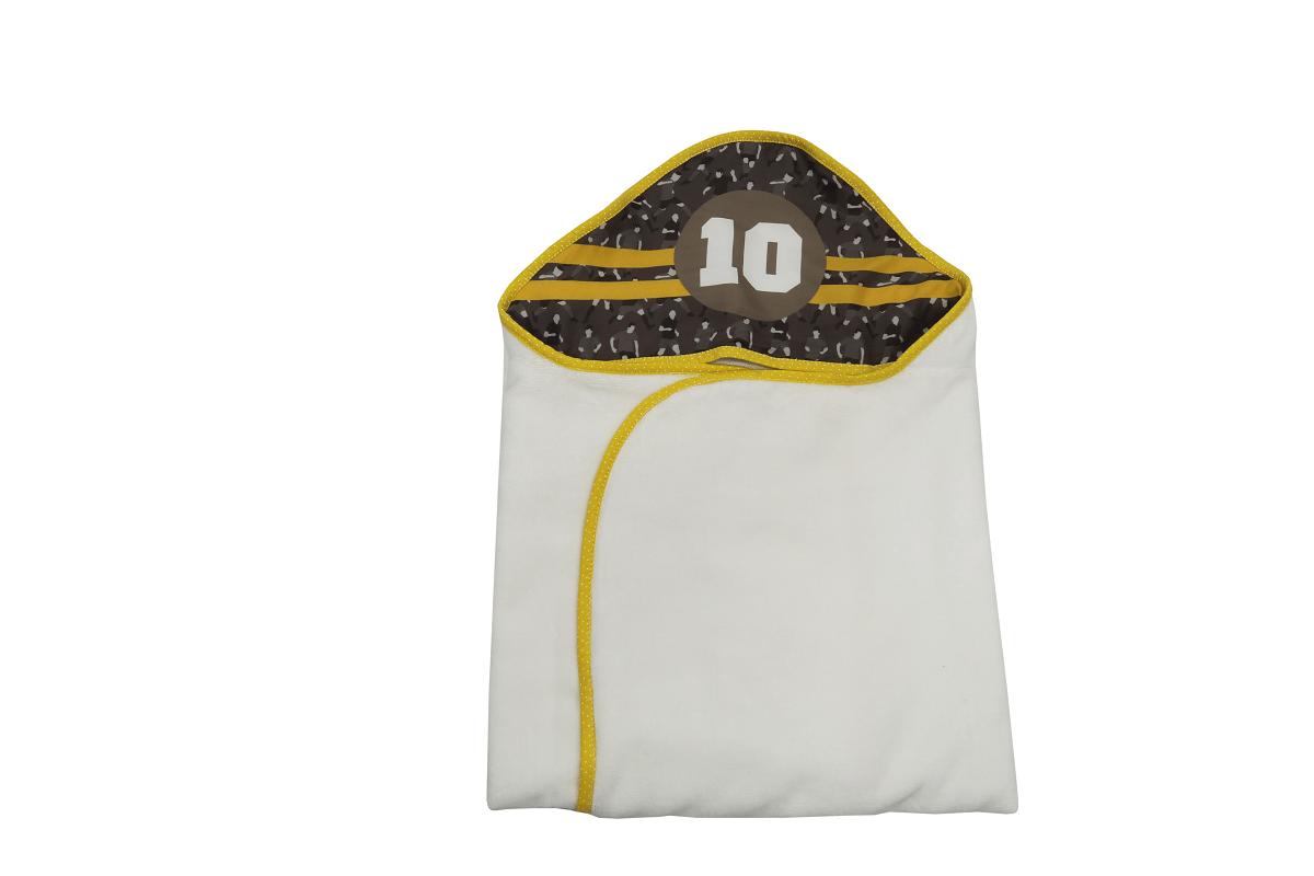 Toalha-fralda com Capuz - Coleção Futebol Cinza com Amarelo