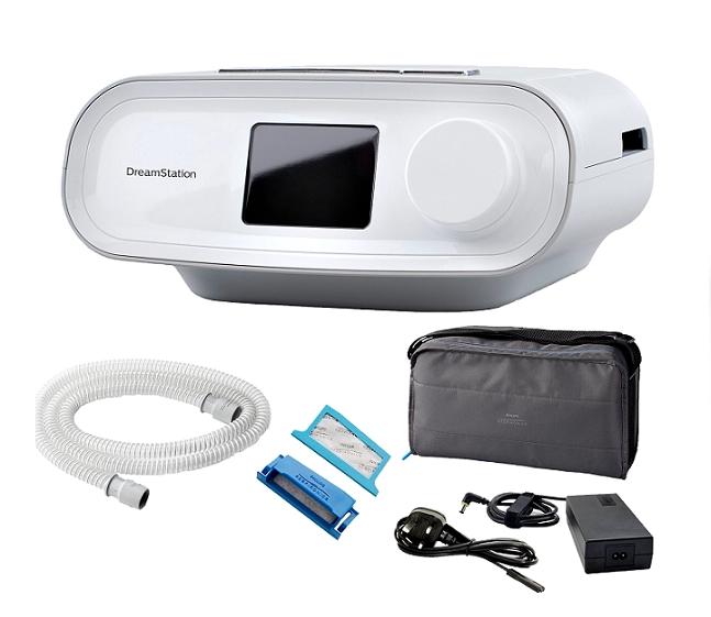 CPAP Dreamstation Auto Philips + Umidificador + Máscara Nasal Wisp Tecido com Almofadas P,M e G Philips