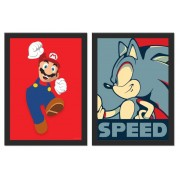 Kit 2 Placas Poster Minimalista Game Classic