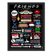 Placa Quadro Poster Minimalista Friends Preto
