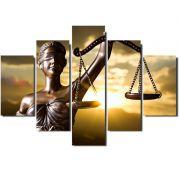 Quadro Painel Mosaico Decorativo 5 Partes Deusa da Justiça
